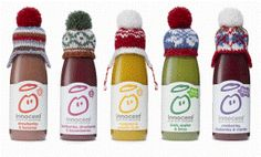The Big Knit - knit a little hat for Innocent Smoothies winter charity campaign for Age UK - LOVED this campaign! Innocent Juice, Innocent Drinks, Smoothies, Smoothie Drinks, Wooly Hats, Knitted Hats, Food Packaging, Packaging Design, Clever Packaging
