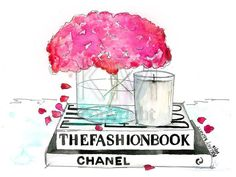 Fashion Illustration Watercolor Painting Print, The Fashion Book - Home decor and wall art