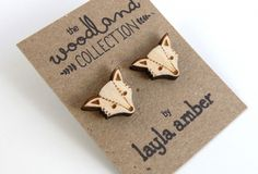 Layla amber geo vos oorbellen hout Beautiful fox earring wood. Woodland collection available at Indie-ish.nl