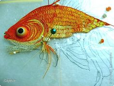 *QUILLING ~ Painting mural drawing master class Quilling Goldfish Paper Paper strips 4 photos...the work that goes into a piece like this is absolutely incredible.