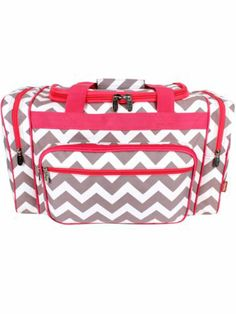 Grey Chevron Duffle Bag with Hot Pink Trim