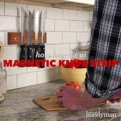 How To Build A Magnetic Knife Strip - Modern Scrap Wood Projects, Woodworking Projects Diy, House Projects, Diy Projects, Diy Storage, Diy Organization, Cube Seat, Diy Knife, Ideas