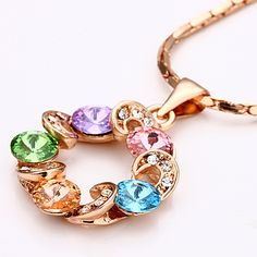 Gold Lucky Wheel of Fortune Multiple Colored Crystal Accent Pendant Necklace