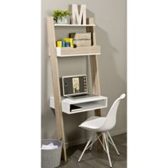 Home Office Small Portable Wooden Computer Trolley Desk Keyboard Storage Shelves Ladder Bookshelf, Desk Shelves, Display Shelves, Storage Shelves, Shelving, Shelf Wall, Bureau Design, Home Office, Small Office