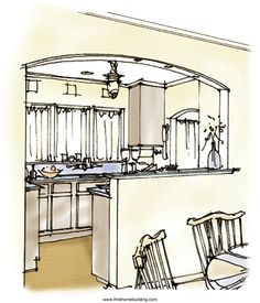 opening a wall between kitchen and livingroom pictures | Opening up a small kitchen - Fine Homebuilding Article