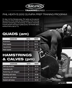 4 of this Olympia Prep Training series takes us through Phil's split leg workout. To help him recover from training twice in one day, Mr. O used Nitro-Tech after each workout. Get Phil's recovery shake here Leg Routine, Muscle Pharm, Gym Workouts, Calf Workouts, Biceps Workout, Workout Routines, Weight Training, Leg Training, Legs Day