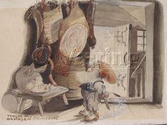 Bilde: Nisse på stabburet / Pixie in storehouse Mythological Creatures, Elves, Gnomes, Art Images, Mythology, Norway, Pixie, Illustration, Artist