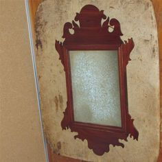 RARE 18TH C CHIPPENDALE WALNUT MIRROR WITH THE BEST CARVED CREST AND EARS ORIGINAL SILVERED MIRROR GLASS WONDERFUL EARLY DESIGN.   Sold  Ebay    365.00.      ~♥~