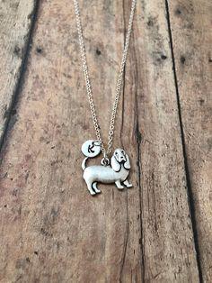 Basset hound initial necklace Basset hound jewelry dog
