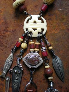 Blood and Bone Amulet Necklace by Maggie Zee Blood And Bone, Metal Clay, Gold Paint, Copper Jewelry, Polymer Clay Jewelry, Boho Necklace, Bones, Jewelery, Dangles