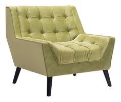 Nantucket Green Velvet Arm Chair