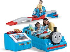 NEW Train Thomas Tank Engine Bedroom Combo Bed Roller Coaster Toy Box Toddler