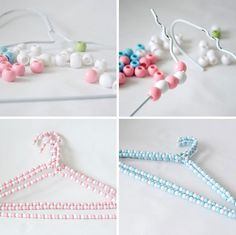 Hand beaded hangers  What you will need  White wire hangers  Pink beads  Blue beads  Green beads  White beads  Hot glue gun      Instructions  Carefully untwist hanger  Thread beads onto hanger until full of beads  Twist hanger back together  Thread beads onto neck of hanger  Hot glue gun last bead in place