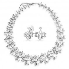 Bling Jewelry White Pearl Crystal Flower Leaves Bridal Necklace Earrings Set