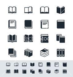 Book icon set simplicity theme vector