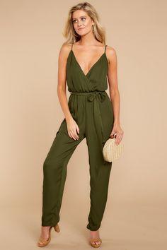 23fc2cd7b215 Gorgeous Olive Green Jumpsuit - Trendy Playsuit - Jumpsuit - $52.00 – Red  Dress Boutique Green