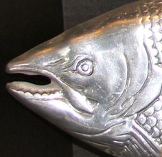 Winsome Wood Cutting Board Tray Serving Salmon Pewter Fish Sushi  #unknown