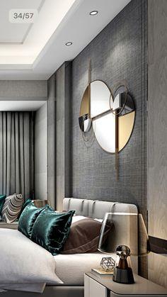 Moderno quarto de casal, com detalhes em cinza na parede da cabeceira / couple . Home Bedroom, Modern Bedroom, Bedroom Decor, Double Bedroom, Master Bedroom, Luxury Interior, Room Interior, Decoration Inspiration, Design Inspiration
