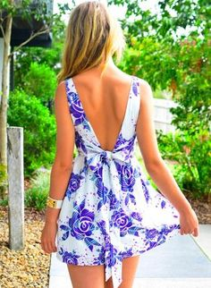 Floral Print Sleeveless Dress with Deep V Front & Back,  Dress, floral print  a-line skirt, Chic