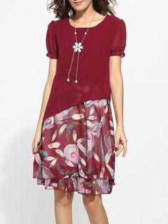 #AdoreWe #FashionMia Skater Dresses - FashionMia Round Neck Chiffon Patchwork Printed Skater-dress - AdoreWe.com