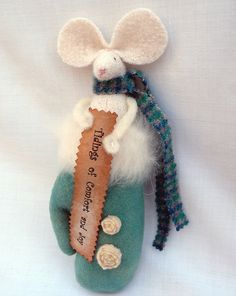 Christmas Mouse Ornie Primitive Mouse in Mitten by Handofbelapeck, $19.50