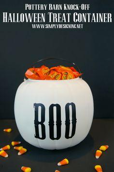 Pottery Barn Knock-Off Halloween Treat Containers | #halloween #halloweencraft #potterybarnknockoff
