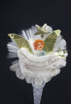 THREE VINTAGE 1950's BRADFORD ANGEL HAIR SPUN GLASS PLASTIC ...