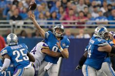 THE VIKINGS DEFEAT THE LIONS 28 TO 19 WITH CONSTANT PRESSURE ON STAFFORD. HE WAS SACKED 7 TIMES AND HIT MANY MORE.