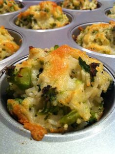 Baked Cheddar Broccoli Rice Cups I know someone who makes these but processes the ingredients so that it's smoother like a muffin.