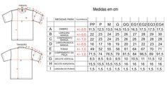 Tabela Tamanhos/Medidas Camiseta Gola Careca