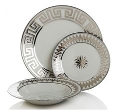 COLIN COWIE FOR HSN  24-piece Greek Key Dinnerware Set-Silver