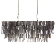 Large Rectangle Hanging Capiz Pendant - Gray #WestElm  So cool over my farm table!