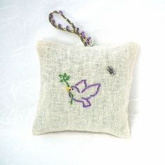 A recent addition to my #etsy shop: Hand-embroidered Hanging Lavender Sachet filled with home-grown lavender from Napa Valley|Bird|Dove of Peace http://etsy.me/2CjYik9 #art #fiberart #beige #valentinesday
