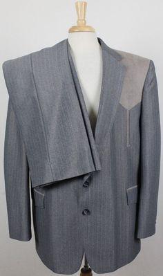 46ba2b070d8 Sheplers Western Vintage USA 2pc Suit Sport Coat   Pants Shiny Gray Mens  48L  fashion