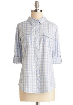 Hello Sunshine Top - Cotton, Woven, Mid-length, Blue, White, Plaid, Buttons, Casual, Long Sleeve, Spring, Good, Collared, Blue, Tab Sleeve, ...