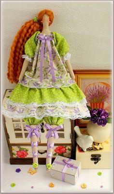 Lavender Tilda Doll fabric doll-Cloth doll rag by MyShopDolls