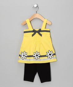 Yellow & Black Daisy Tunic & Leggings - Infant & Girls, Love this; nice bright summer colors