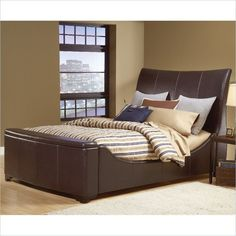 Hillsdale Justin Sleigh Storage Bonded Brown Leather Bed #Hillsdale