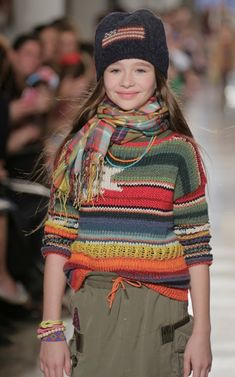 Multistripe sweater and mixed plaid look for girlswear at Ralph Lauren fall/winter 2014