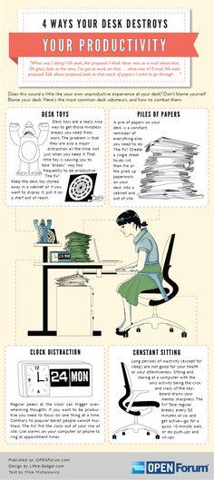 Cómo el desorden en nuestro escritorio nos distrae del trabajo o estudio [Infografía]