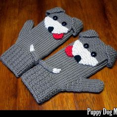 Puppy Dog Mittens for the Family Knitting Pattern - Knitting patterns, knitting designs, knitting for beginners. Crochet Baby Mittens, Knitted Mittens Pattern, Crochet Gloves, Knit Mittens, Crochet Slippers, Knitting Socks, Fingerless Mittens, Knitting Machine, Free Knitting