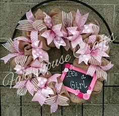 "Faux burlap baby shower wreath! ""Pretty in Pink"" #handmadewreaths #farmhouse_crafts"