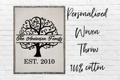 Personalized Family Tree Name Woven Throw Blanket Custom Monogram Last Name Blanket Established Date Blanket Farmhouse Cotton Woven Blanket Graduation Shirts For Family, Personalised Family Tree, Blanket Design, Yarn Colors, Family Gifts, Newlyweds, Mistakes, Spelling