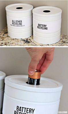 Tour of Our House - Kitchen and Laundry recycling storage for batteries, etc made from coffee cans - could store on dryer. via recycling storage for batteries, etc made from coffee cans - could store on dryer.