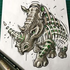 The Rhino. Slice Animal Portraits in Stylised Looks. By JAYN ABS-Crew.