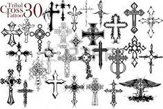 Tribales Cruz Tattoo Design Ilustraciones Vectoriales, Clip Art