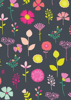 Floral Pattern by Susan Driscoll. Surface Pattern Design, Pattern Art, Pretty Patterns, Flower Patterns, Textile Patterns, Textile Design, Textiles, Motif Floral, Floral Prints