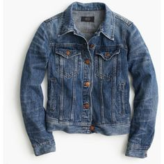 J.Crew Denim Jacket (€135) ❤ liked on Polyvore featuring outerwear, jackets, denim, denim jacket, coats & jackets, j crew, j crew jacket, fitted jean jacket, blue jean jacket and tailored jacket