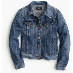 J.Crew Denim Jacket (€135) ❤ liked on Polyvore featuring outerwear, jackets, denim, denim jacket, coats & jackets, j crew, j crew jacket, fitted jean jacket, blue jean jacket and tailored jacket