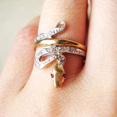 Vintage 9ct Gold Ruby Eyed Snake Ring Approx. Size by luxedeluxe, $248.00